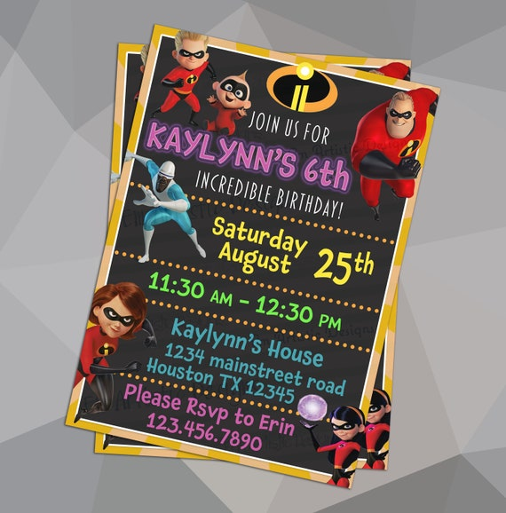 PRINT AT HOME Incredibles 2 Birthday Party Invitations Free