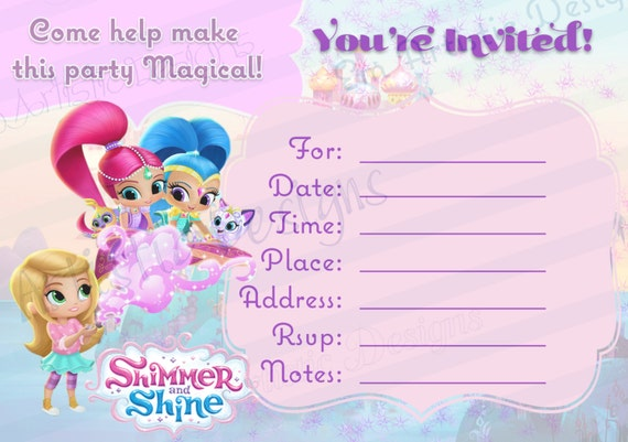 Shimme and Shine Party Supplies Instant Download SHIMMER and SHINE Inspired Party kit Printable Shimmer and Shine Birthday kit