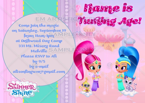 Personalised Shimmer and Shine Birthday Party Invites inc envelopes SS3