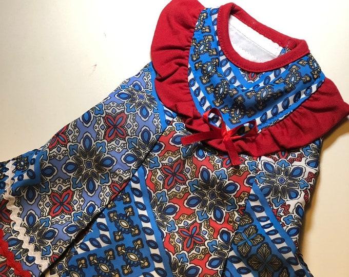 Vestiditos bohemios para perrita / Vestiditos de Verano para perritas/ Vestiditos frescos para perro/ Vestido azul con rojo para perrita