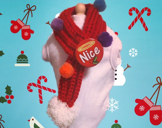 Ugly Christmas Scarf/ Red Christmas dog Scarf/ Dog Scarf/ Funny dog scarf