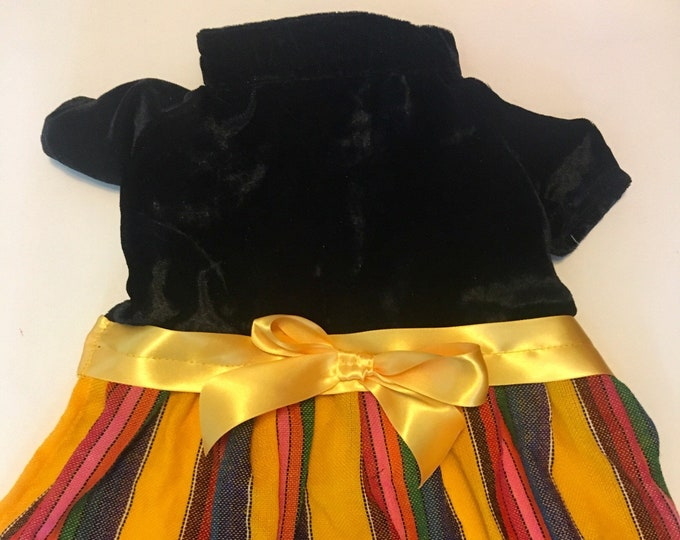 Velvet dog dress/ Yellow dog girl dress/ Mexican style dog dress/ Elegant dog dress/ Dog girl dress/ Autumn dog dress