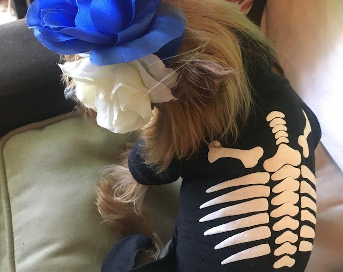 Disfraz de esqueleto para perro/ Disfraz de calaca para perro/ Dia de muertos/ Disfraz de perro esqueleto/ Pijama de esqueleto