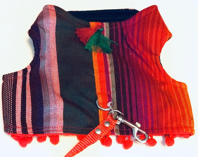Mexican Dog Harness/ Stripes dog harness / Harness zarape style COLOR RED