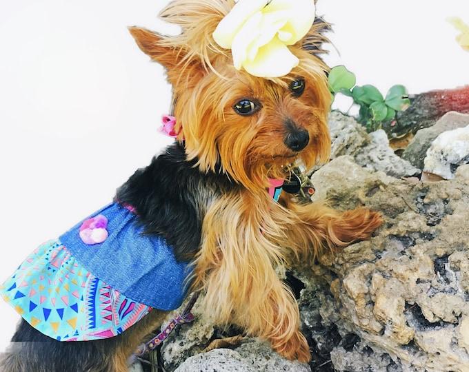 Vestiditos de mezclilla estilo halter / Vestiditos de mezclilla para perritas/ Vestiditos halter para perro/ Vestido hippie