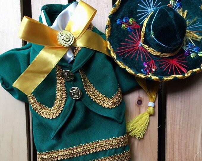 Disfraz de Mariachi para perrito color verde