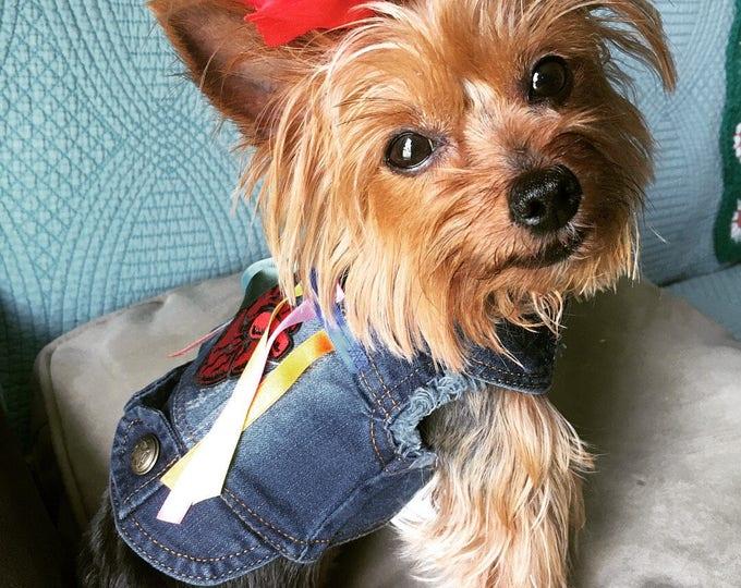 Denim dog vest/ Mexican dog vest/ Designer dog vest/ Mexican Dog vest/ Denim dog apparel/Mexican Heart dog vest