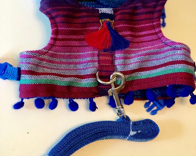 Mexican Dog Harness/ Stripped dog Harness/ Mexican Zarape Dog Harness/ Harness for small dogs