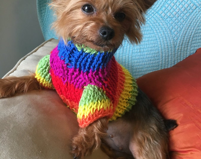 Dog Sweatshirts, Handmade dog sweatshirts, Knitted dog sweaters, Rainbow dog sweaters, Gay pride dog sweaters