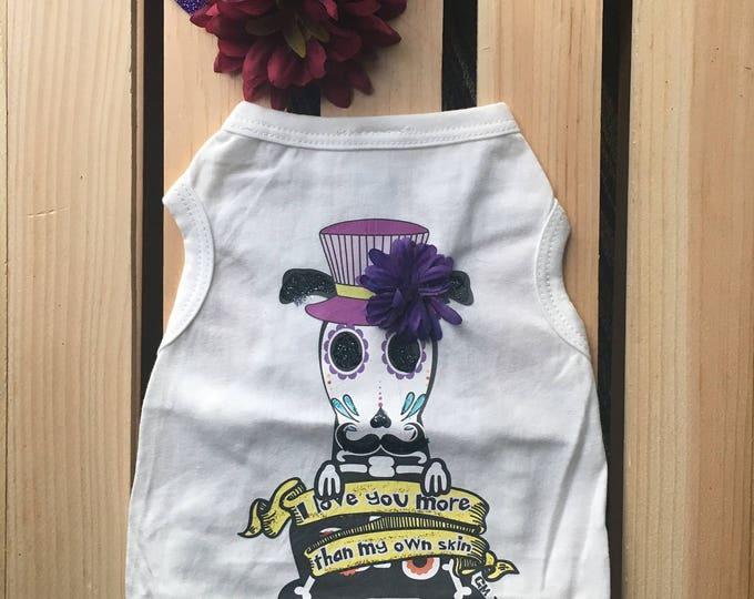 Dog Shirt - Day of the Dead/Dog T-shirt - Dog Shirt - Day of theDead Dog Shirt -Dog Clothes - Pet Apparel - Skull Dog Shirt