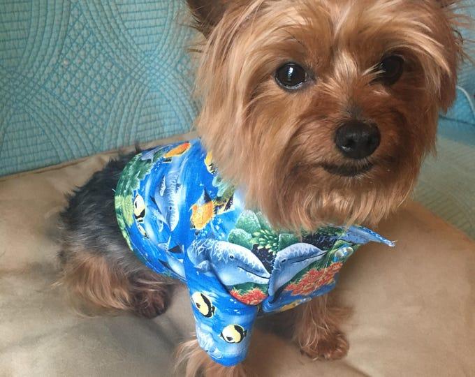 Camisas para perrito tema oceano Camisas tema mar / Camisas de algodón para perro/ Camisas azules de vestir de perro