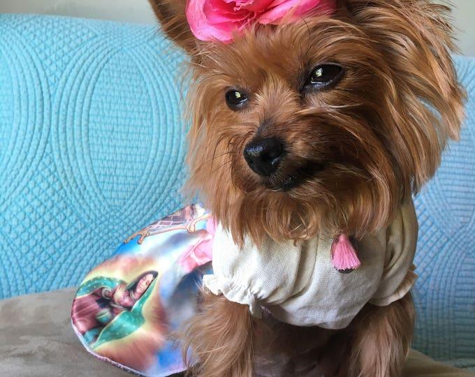 Vestidos virgen de Guadalupe/ Vestiditos para perro/ Vestiditos temas Mexicanos para perro/ Vestiditos Originales para perrita