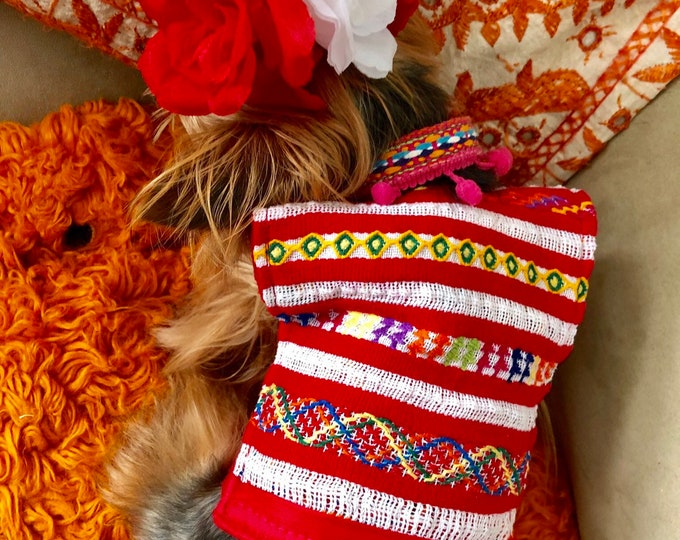 Embroidered Mexican Huipil top for Dog/ Mexican style dog blouses/Huipil dog blouse / Mexican blouses from Oaxaca/ Artisanal dog blouses