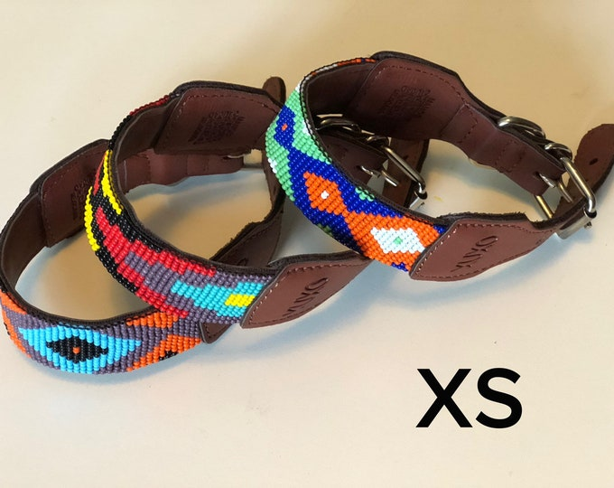 Mexican Dog Collar/ Dog Collars from Jalisco / Synthetic Leather Dog Collars/ Huichol art dog collars size XS