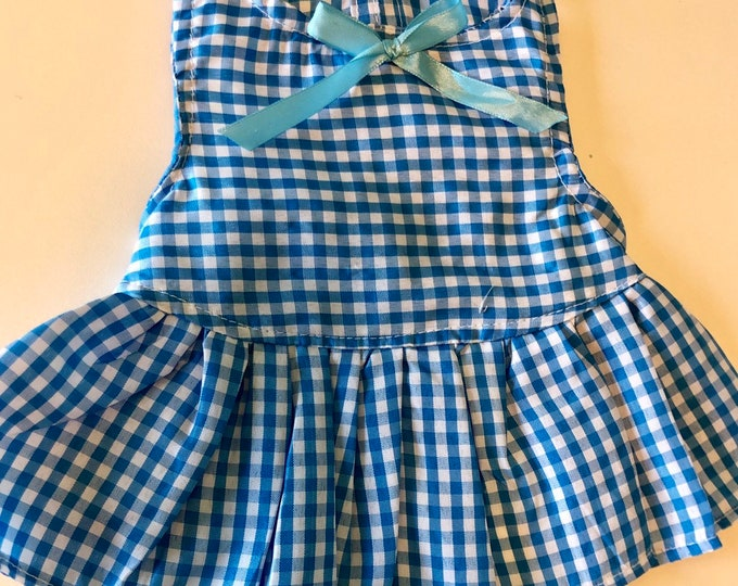 Gingham dog Dress/ Blue dog dresses/ Spring-Summer dog dress/ Puppy dresses/ Gingham dog  girl dress