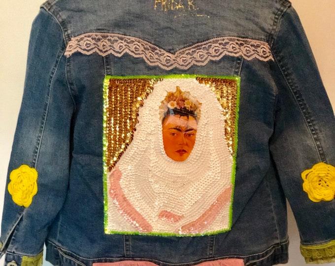 Mexican Denim Jacket/ Mexican icon denim Jacket/ Frida Denim Jacket/ Mexican Designer hooman jacket size Medium