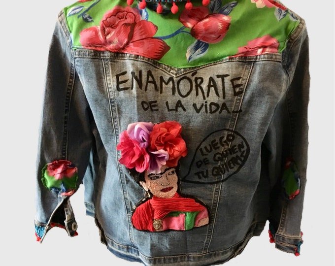 Mexican Denim Jacket/ Mexican icon denim Jacket/ Frida Denim Jacket/ Mexican Designer hooman jacket size small