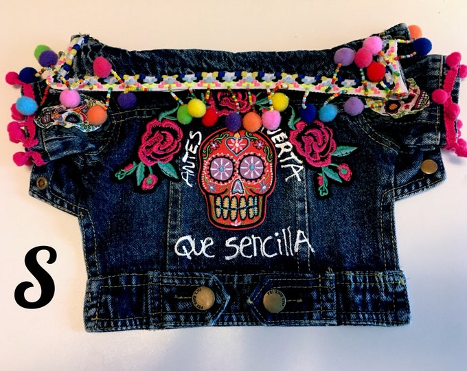 Day of the Dead denim jacket/ Day of the Dead dog jacket/ Mexican Dog jacket