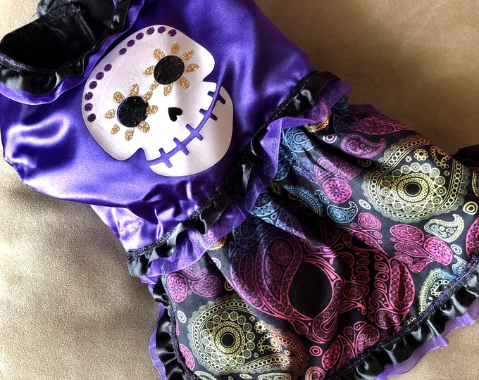 Day of the dead dog girl dress/ Halloween dog girl dress/ Skull dog girl dress