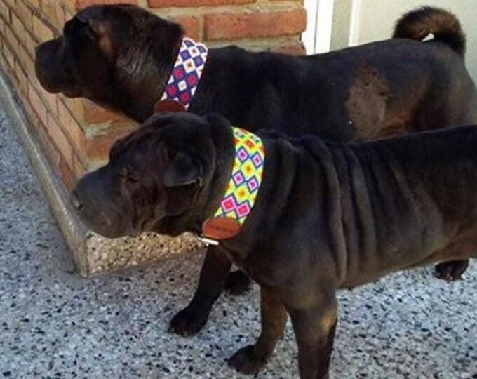 Collares para perro estilo Mexicano/ Collares de piel para perro/ Collares con arte bordado a mano en Chiapas XL
