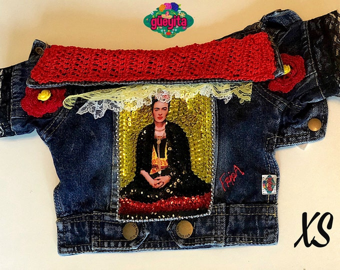 Mexican denim Frida dog jacket/ Mexican Designer denim dog jacket/ Designer Dog Jacket/Mexican dog jacket