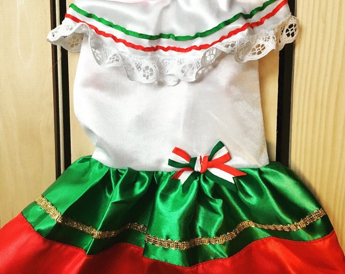 Disfraz de Mexicanita para perro/ Disfraces Mexicanos para Halloween & Cinco de Mayo/ Mexicanita, Cinco de Mayo dog girl dress