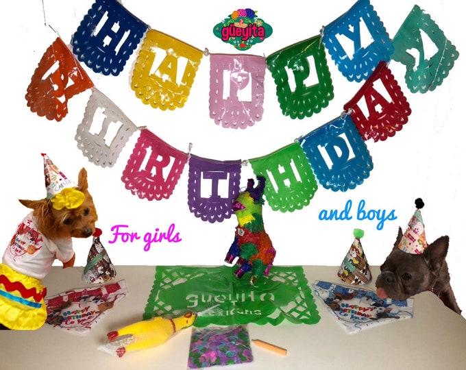 Set de cumpleaños para perros/ Kit de cumpleaños para 4 perros/ Fiesta para tu perro portatil/ Set de fiesta para 4 perritos