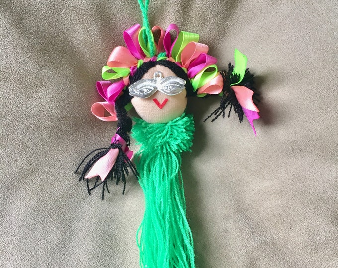 Mexican doll hanger/ Mexican doll ornament/ Mexican doll with cause - 50% is donated do a dog in need- Milagritos item