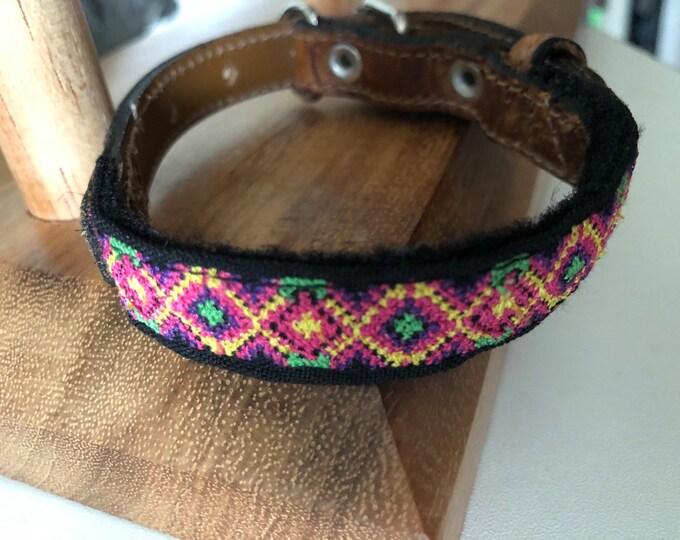 Collares para perro Mexicanos/ Collar para perro de piel/ Collares artesanales para perro de Yucatán XXS