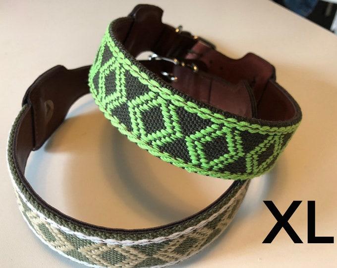 Collares para perro estilo Mexicano/ Collares de piel para perro/ Collares con arte Ticul bordado de Yucatán,Mexico XL