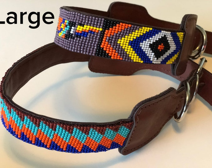Mexican Dog Collar/ Dog Collars from Jalisco,Mexico / Synthetic Leather Dog Collars/ Huichol art dog collars size L