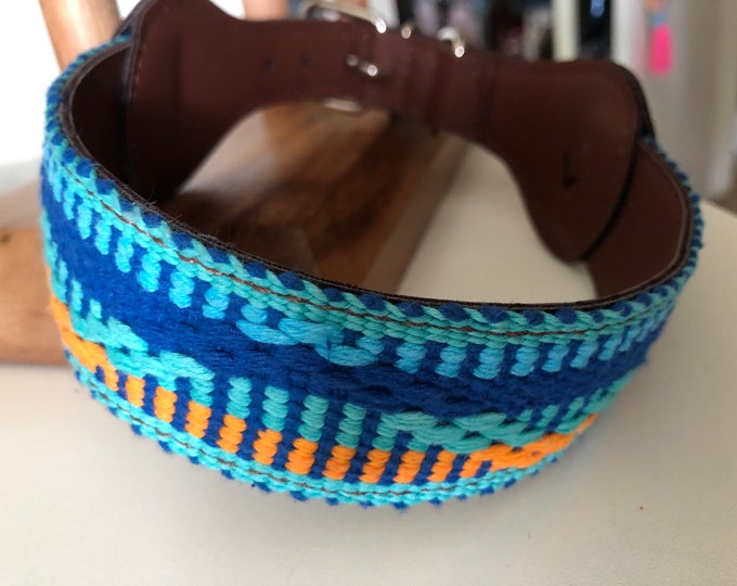 Mexican Dog Collar/ Dog Collars from Oaxaca Mexico/ Synthetic leather Dog Collars/ Xuxo Collars size L