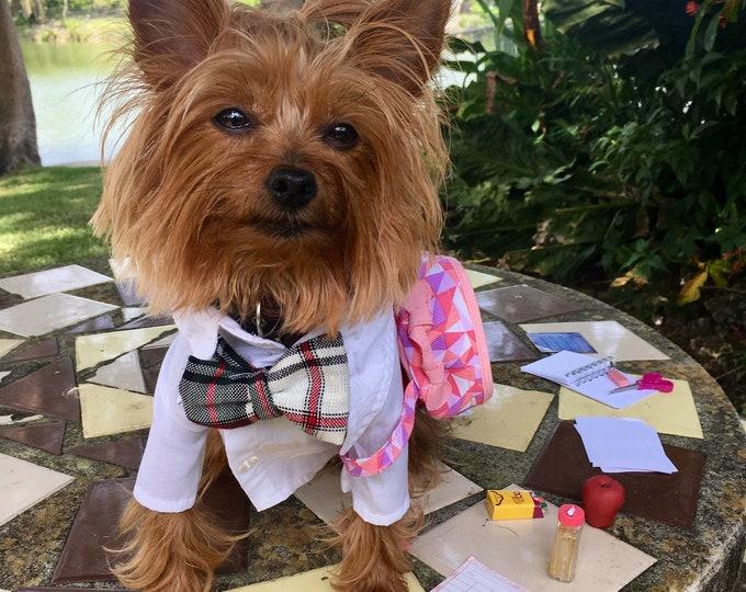 Unifomes para perrito/ Camisas Regreso a clases para perritos/ Disfraz de uniforme para perritos/ Camisitas con corbata estilo Escozes