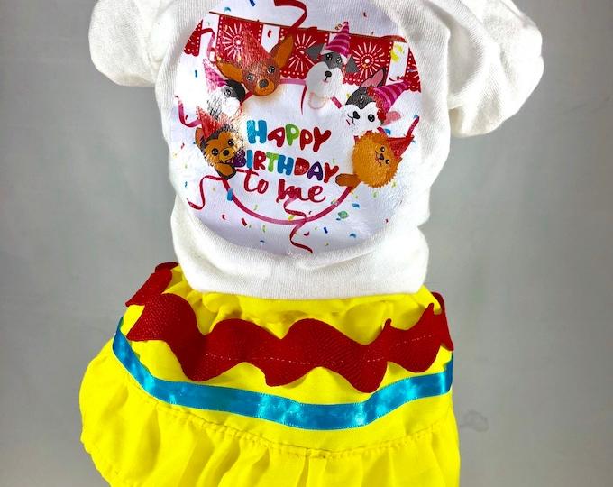 Feliz cumpleaños set para perritas/ T-shirt y falda para perritas edición Cumpleaños