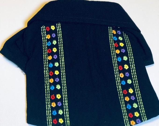 Guayaberas para perrito estilo Mexicano/ Camisas de manta negra/Camisa de verano para perro/ Guayaberas Mexicanas para perrito