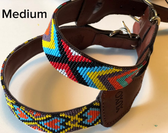 Mexican Dog Collar/ Dog Collars from Jalisco,Mexico / Synthetic Leather Dog Collars/ Huichol art dog collars size M