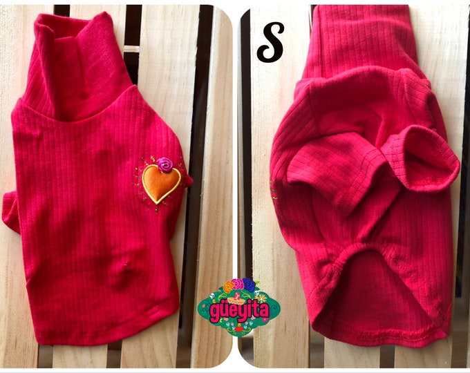 High neck dog tees/ San Valentine's dog tee/ Turtle neck red dog tee/ San Valentine/s day dog tees/ Dog tees with a Mexican heart