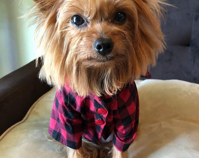 Tartan classic button-down dog shirt/ Cotton Dog Shirts / Dog shirts for Holidays/ Dog Apparel / Puppy clothes / Classic Tartan shirt