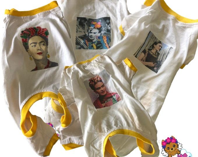 Mexican Dog Pajamas/  Dog pj's/ Frida Inspired dog pajamas/ Pajamas for dogs/ Dog pajamas with Frida Kahlo image