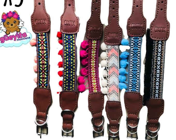 Collares para perro estilo Mexicano/ Collares de piel para perro/ Collares con arte Ticul bordado de Yucatán,Mexico XS