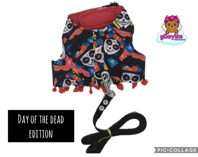 Mexican Dog Harness/ Day of the dead dog harness / Harness Day of the dead edition/Mexican skulls dog harness
