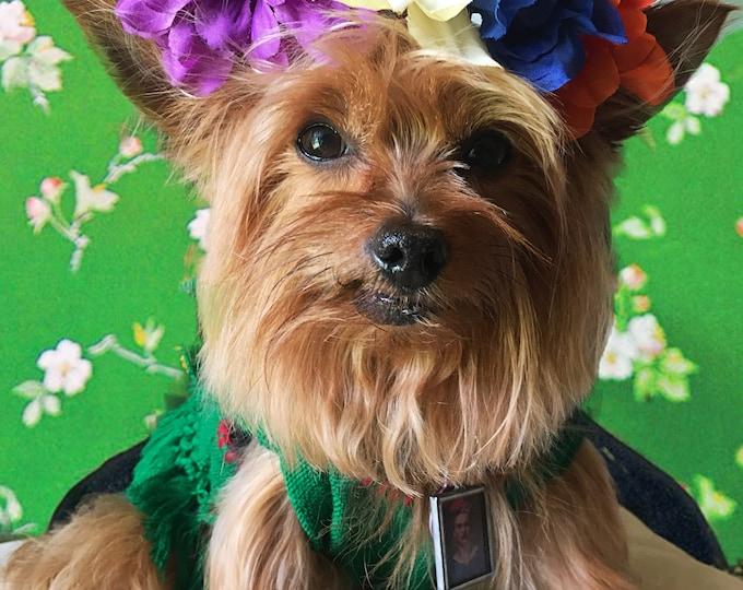 Sets estilo Frida Kahlo para perro/ Blusas Mexicanas para perro/ Blusitas para perro estilo Frida/  Blusas Folkloricas mexicanas talla small
