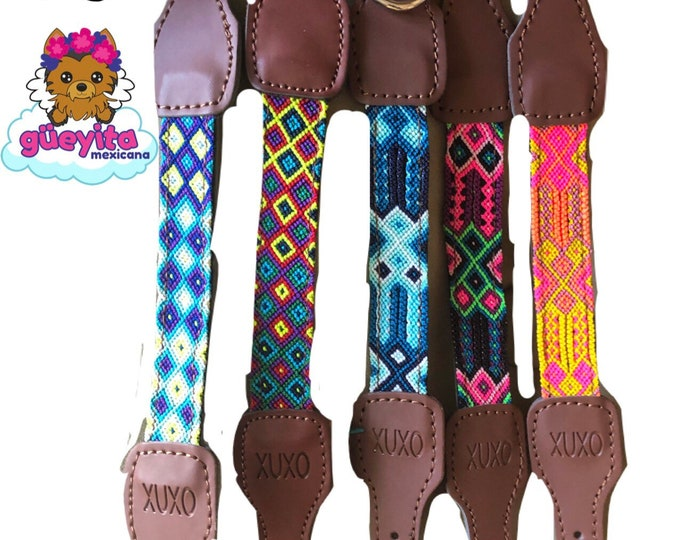 Mexican Dog Collar/ Dog Collars from Chiapas / Synthetic Leather Dog Collars/ Chiapas dog collars size XS
