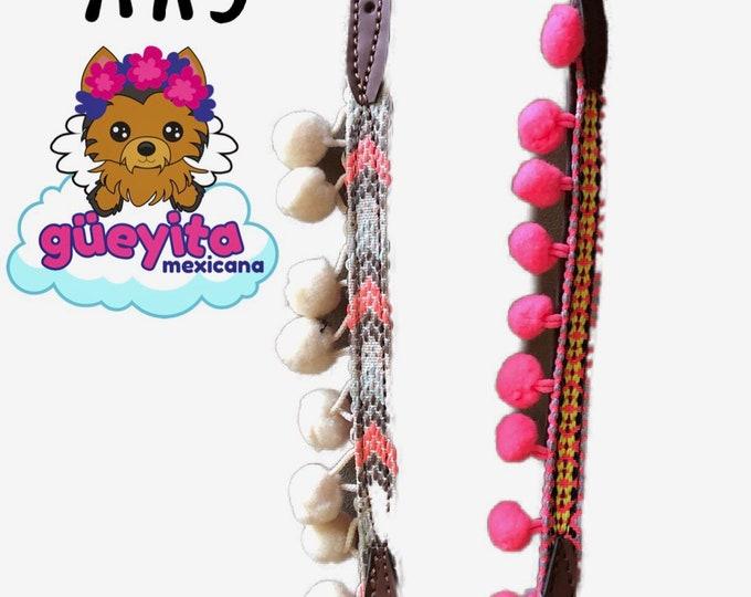 Mexican Dog Collar/ Dog Collars from Chiapas / Synthetic Leather Dog Collars/ Chiapas dog collars size XXS
