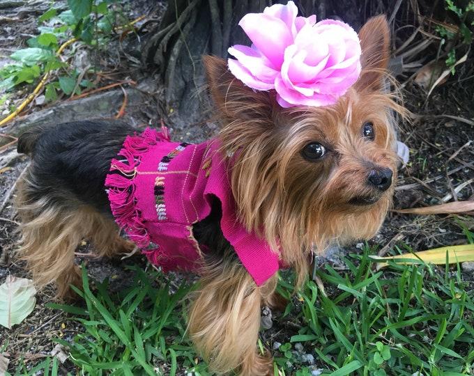 Blusa estilo Hupil para perrito/ Blusitas Mexicanas para perro/ Blusas artesanales para perro/ Blusa bordada en telar Mexicano