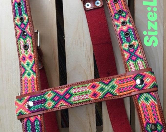 Arnes Mexicano/ Arnes hecho por artesanos de Chiapas Mexico/ Arnes folklorico de piel y macrame de Chiapas, Mexico/ Arnes Mexicano