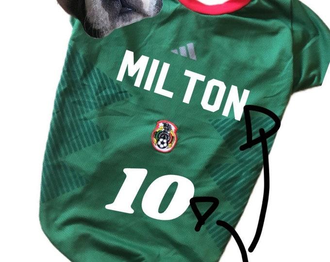 Camisetas para perro de Futbol Mexicano/ Camisetas para perro del mundial/ Camiseta del equipo Mexicano para Bull dogs