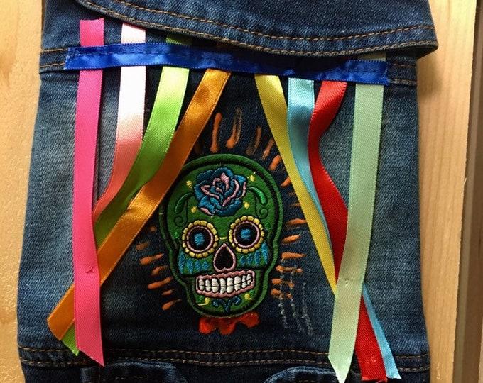 Denim dog vest- Day of the Dead theme/ Designer dog vest/ Mexican Dog vest/ Denim dog apparel/Mexican Skull dog vest