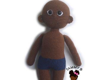 Crochet Doll Pattern - 18 inch crochet doll pattern - Black doll pattern - Basic doll pattern - PDF Crochet doll pattern