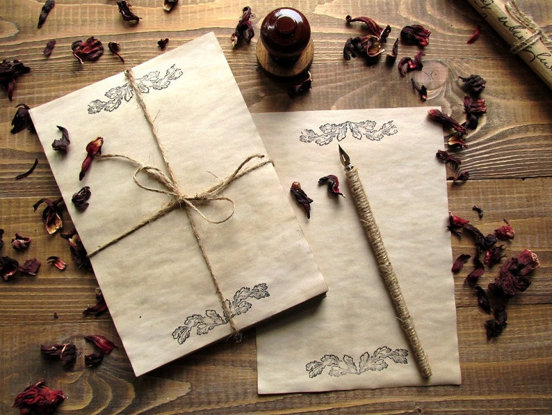 20 sheets aged paper handmade paper antique leaflets image 0